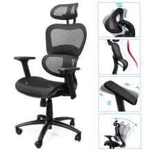 Komene Mesh Home Office Computer Desk Chair, Ergonomic Swivel High Back Task Executive Lumbar Support Aeron Chair, Modern Comfortable Ergo Drafting 3D Armchair Backrest Tilt Recliner Rolling PC Chair