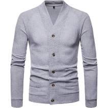 Uni Clau Fashion Men V-Neck Shawl Button Cardigan Sweater with Pocket