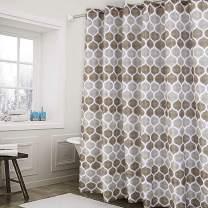 Haperlare Fabric Shower Curtain, Moroccan Geometric Design Shower Curtain for Bathroom, Heavy Textured Fabric Bath Curtain, 72 X 72 Inch, Taupe/Brown
