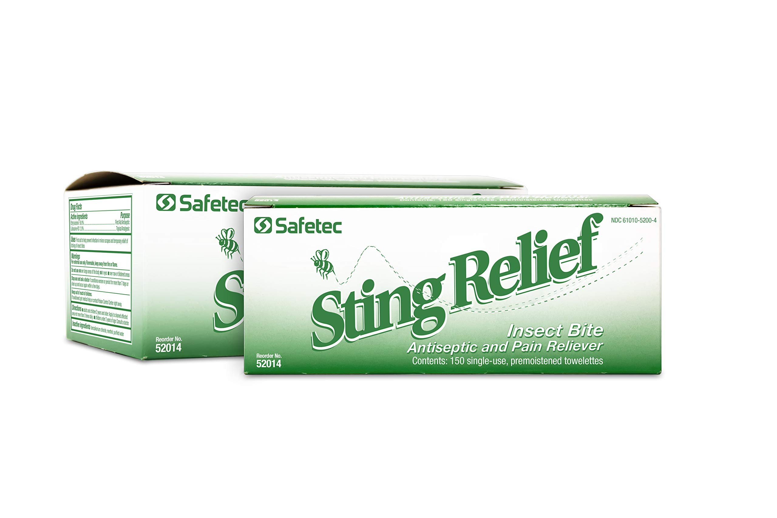 Safetec Sting Relief Wipes 150ct Box (2 Pack of 150ct Wipes - 300 Sting Wipes) for Insect Bites & Stings