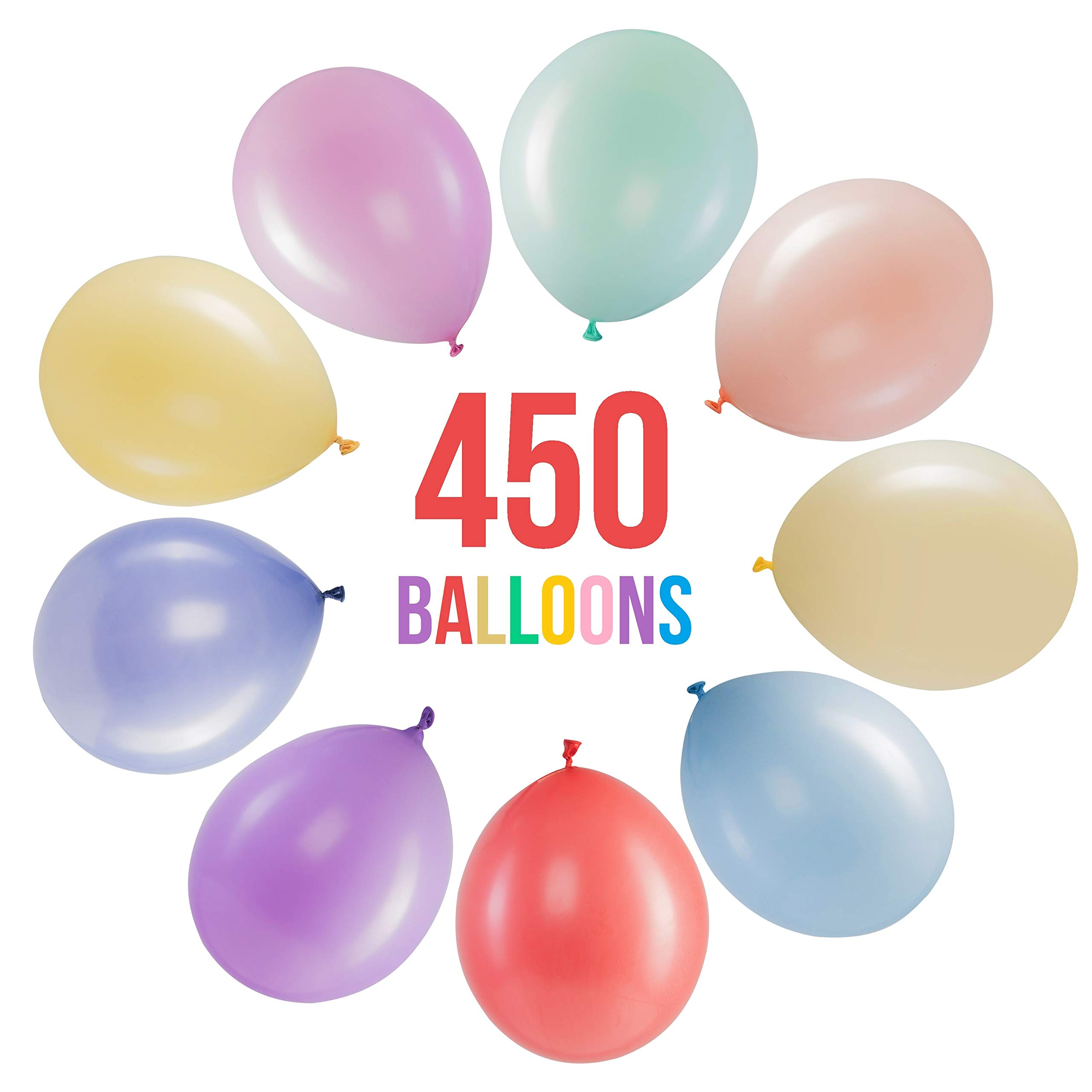 Prextex 450 Pastel Party Balloons 12 Inch 10 Assorted Rainbow Candy Colors - Bulk Pack of Strong Latex Macaron Balloons for Party Decorations, Birthday Parties Supplies or Arch Decor - Helium Quality