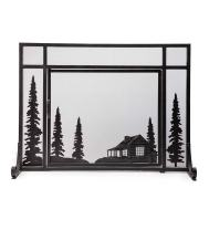 Plow & Hearth Small Mountain Cabin Hearth Fireplace Screen with Single Door, 3D Laser Cut Design, Steel Construction, 38 W x 12.5 D x 31.5 H, Black Finish