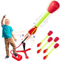 Toy Rocket Launchers for kids – Shoots Up to 100 Feet – 4 Foam Tipped Rockets and Sturdy Launcher Stand With Foot Launch Pad - Fun Outdoor Toy for Kids - Gift Toys for Boys and Girls Age 5+ years old