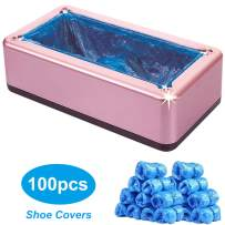 Automatic Shoe Covers Dispenser, Portable Shoe Covers Machine with 100 Pcs Disposable Plastic Water Resistant Shoe Covers Perfect for Home, Shop, Office and Lab