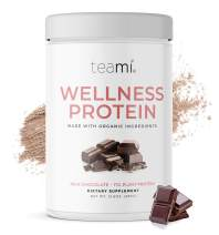 Teami Wellness Vegan Protein Powder - Organic Ingredients (14 Servings, 13.6 Ounce) Smooth Textured Chocolate Plant Based Protein Powder, Low Net Carbs, Non-GMO, Dairy Free, Soy Free, No Sugar Added
