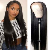 "Lemoda Brazilian 360 Lace Frontal Straight Hair Wig 150% Density Pre Plucked Virgin Human Hair Wigs With Baby Hair Nature Color for Black Women (24"")"