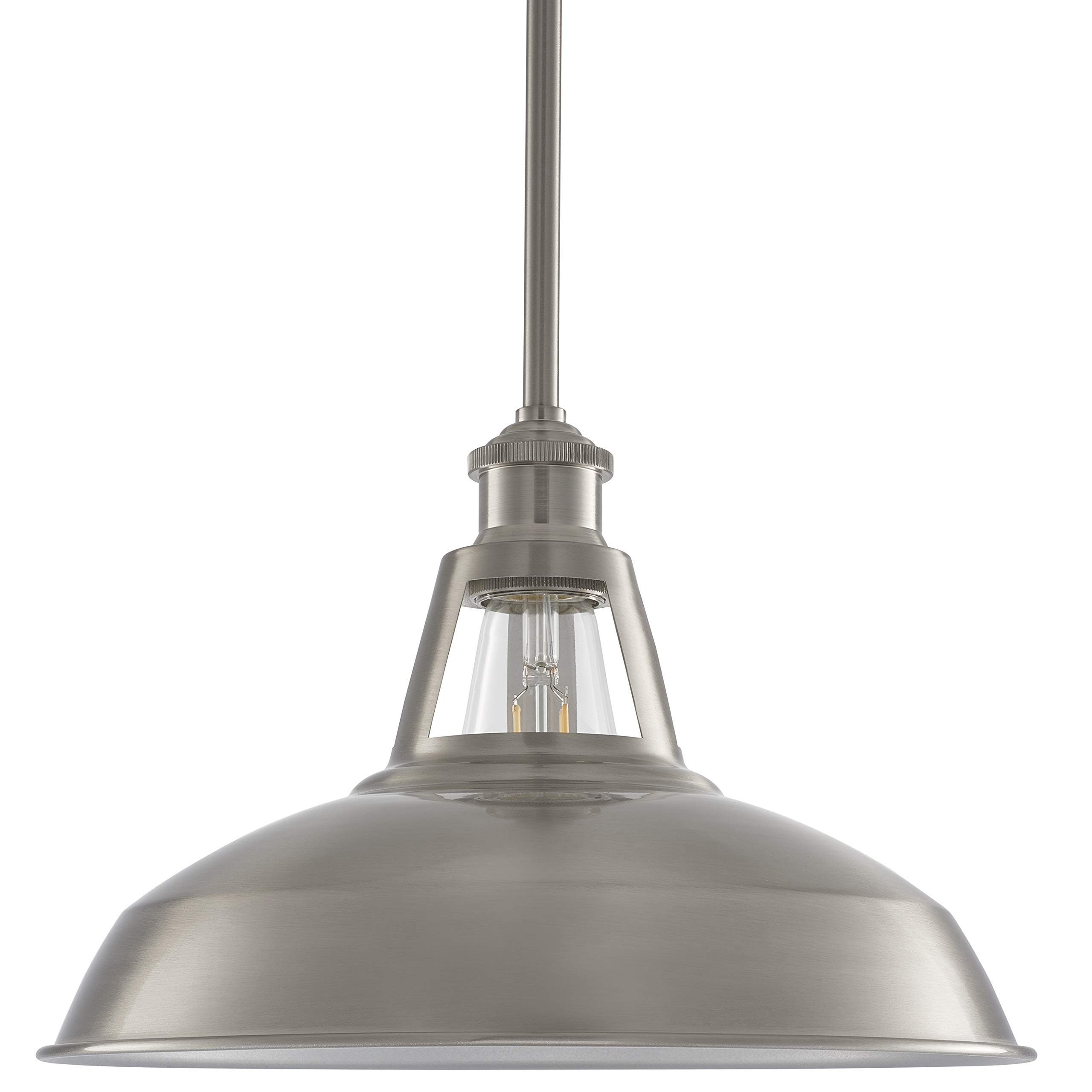 Olivera 12 inch Pendant Light | Brushed Nickel Pendant Lighting for Kitchen Island with LED Bulb LL-P855-1BN