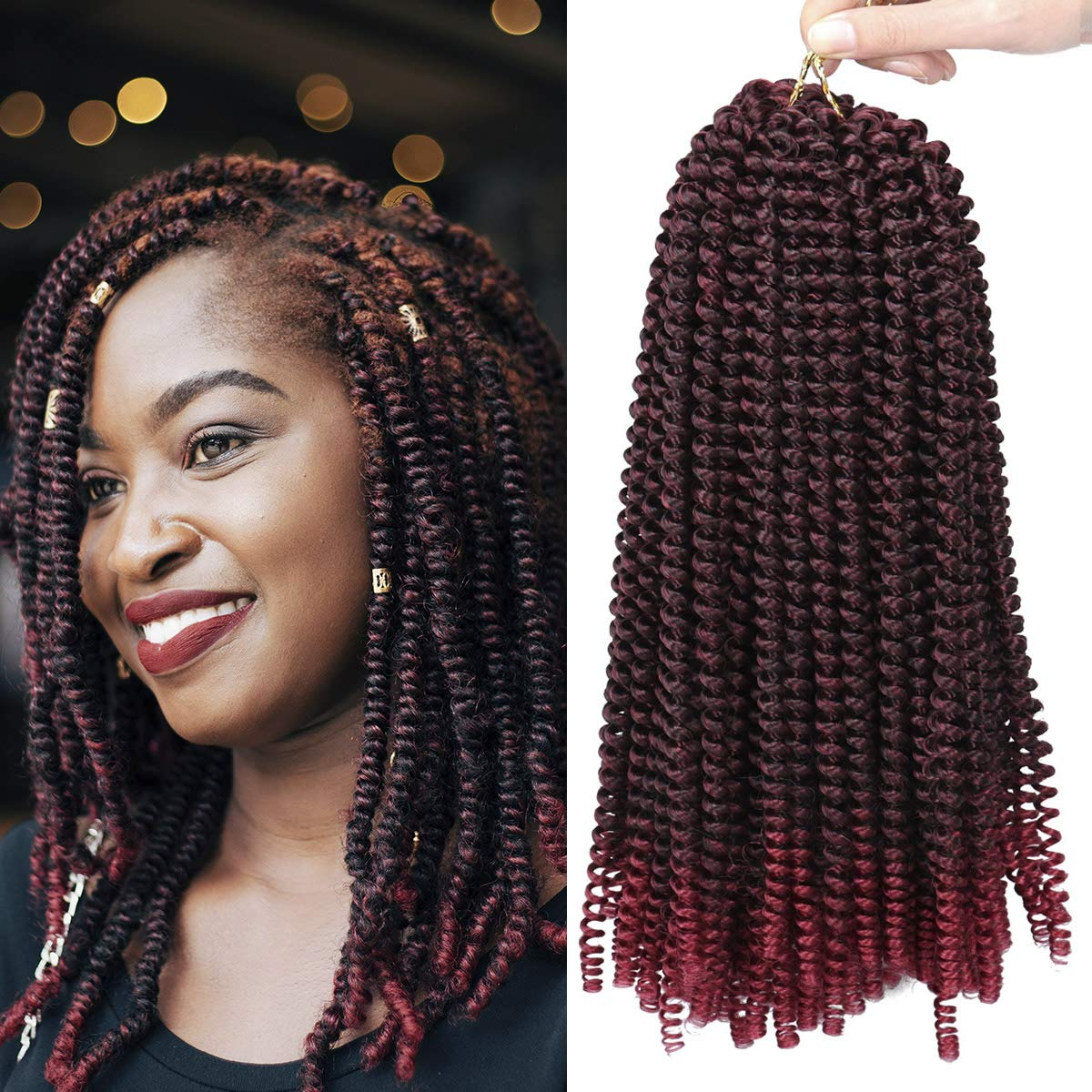 3 Packs Spring Twist Crochet Hair 12 Inch Ombre Colors Crochet Braids Fluffy Synthetic Braiding Hair Extensions Low Temperature Fiber(T1B/Burgundy#)