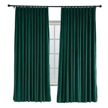 TWOPAGES 52 W x 102 L Pinch Pleated Curtains Room Darkening Velvet Curtain Drapery Panel for Traverse Rod Or Track, Living Room Bedroom Meetingroom Club Theater Patio Door (1 Panel), Moss