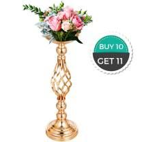 "Happybuy Flower Rack for Wedding 10pcs Metal Candle Stand 18.6"" Height Gold Candlesticks Centerpieces for Tables Tabletop Candlestick for Wedding Party Events Dinner Metal Flower Arrangement"