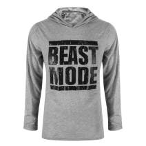 Katesid Men's Gym Workout Bodybuilding Long Sleeve Casual Hoodie Sweatshirts Letter Printed Training Sports Pullover