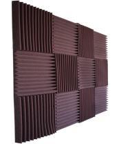 "Foamily 12 Pack- All Burgundy Acoustic Panels Studio Foam Wedges 1"" X 12"" X 12"""