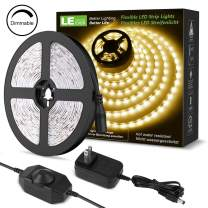 LE 16.4ft Dimmable Strip Kit with 12V Power Supply, 300 SMD 2835 Non-Waterproof LED Tape, Flexible Rope Light for Home, Kitchen, Under Cabinet, Bedroom, Warm White, 1 Pack Adapter