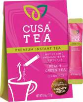 Cusa Tea: Premium Instant Tea - Single-Serve Packets - 100% Organic - Real Fruit and Spices - No Artificial Flavors - Make Hot & Cold Tea in Seconds - Peach Green Tea 10 Servings