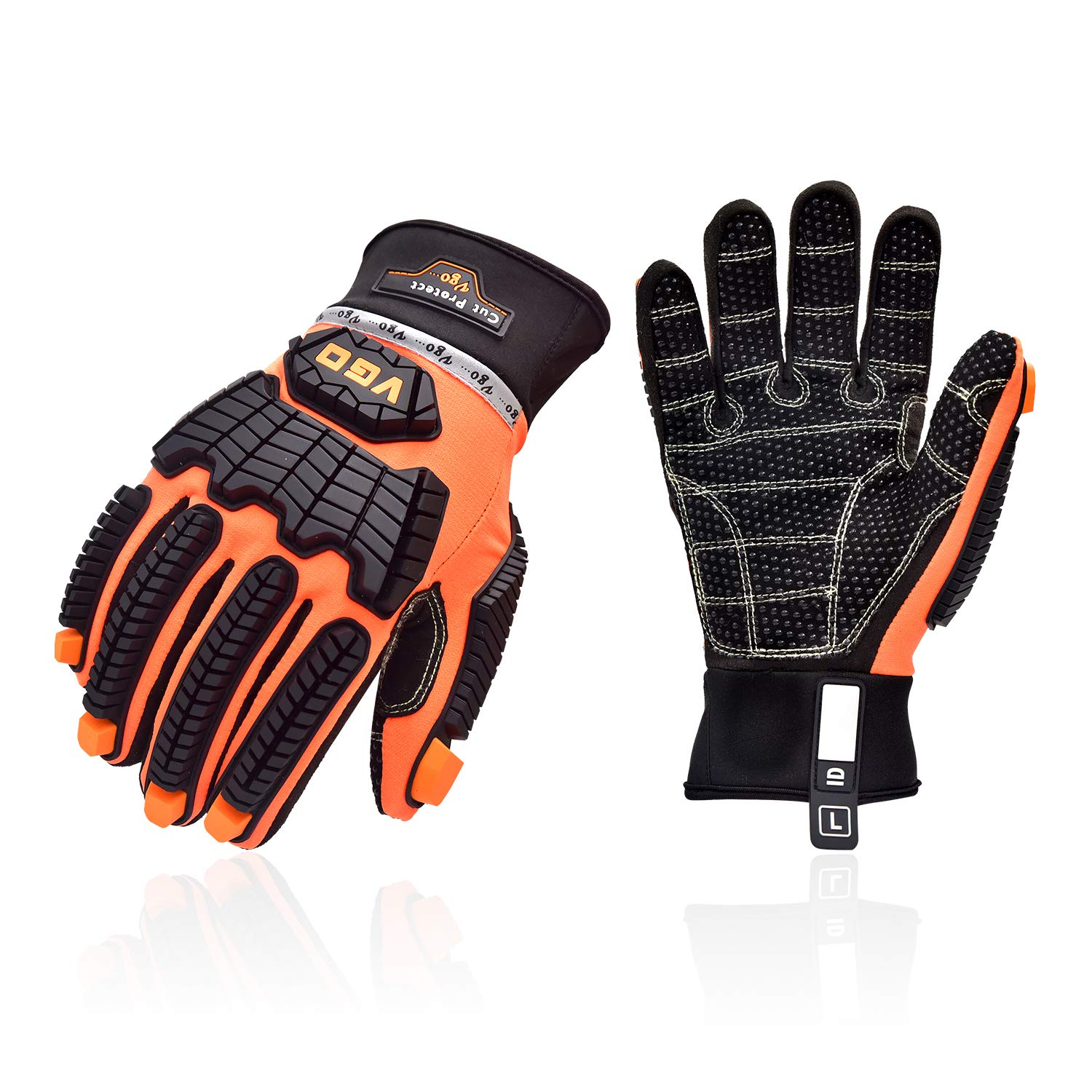 Vgo OffShore Anti Vibration Oil-proof Impact protection Water-Repellent Safety Synthetic Leather Work Glove(Size L, Orange, SL9679)
