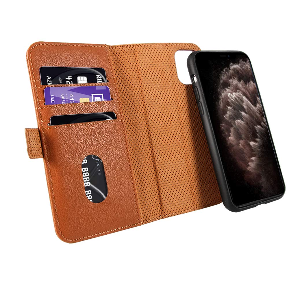 Case for New iPhone 11 Pro Max 2019 Leather Wallet Case Detachable with 3 Card Slots Kickstand Flip Folio Cover Wireless Charging RFID Blocking Compatible with iPhone XI Max Pro 6.5 inch Brown