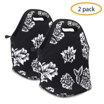 ANLOMI Insulated Neoprene Lunch Bag - Reusable Thermal Lunch Bag with Zipper Water Resistant Soft Lunch Tote Food Holder for School Office Outdoor, Boy Girl Men Women Kids Adult Handbags. (Grace x2)