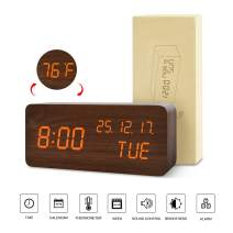 BlaCOG Digital Alarm Clock with Wooden Desk LED Time, Week, Date/Month/Year and Temperature Display, Battery/USB Powered, 3 Alarm Settings, Adjustable Brightness Brown/Orange