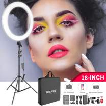 Neewer 18-inch LED Ring Light Kit for Makeup YouTube Video Salon - Adjustable Color Temperature with Battery or DC Power Option, Battery/USB Charger/AC Adapter/Phone Clamp/Stand Included(White)