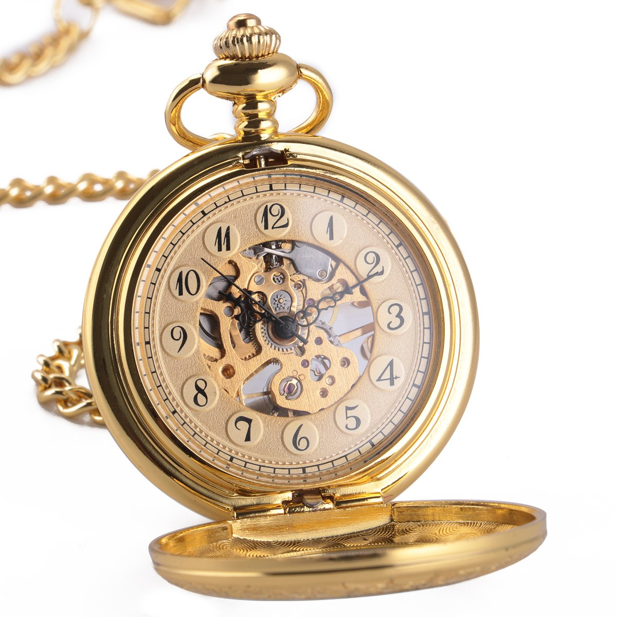 ManChDa Mechanical Pocket Watch for Men Women Special Magnifier Half Hunter Engraved Case Arabic Numerals with Chain + Gift Box
