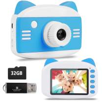 Kids Camera – Seanme 2019 New Upgraded Children Digital Camera Gift Toy for 3~12-Year-Old Boys/Girls, Child Camera Camcorder with Bonus 32GB TF Card & Card Reader (Blue)