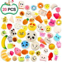 Squishies Toy Set, 20 Pcs Squishy Slow Rising Random Simulation Bread Stress Relief Toys, Birthday Gifts for Kids Party Favors, Kawaii Ornaments for Girl