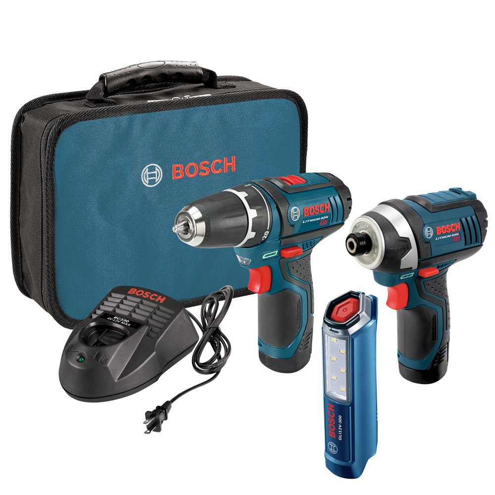 Bosch Power Tools Drill Kit - CLPK22-120 - 12-Volt 2-Tool Combo Kit (Drill/Driver and Impact Driver) with two 12-Volt Lithium-Ion Batteries, 12V Charger,Carrying Case and LED Worklight