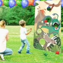 CiyvoLyeen Dinosaur Toss Games Banner, Realistic Dino Party Cornhole Game with 5 Bean Bags for Kids Boys Birthday Jurassic World Family Gathering Party Supplies