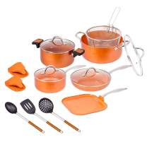 15 pc Copper Aluminum Cookware Set – Copper Nonstick Cookware Sets – Pots and Pans Set with Glass Lids, Fryer Insert, Spoon, Spatula and more - Large Copper Aluminum Cookware Set (15 Pc)