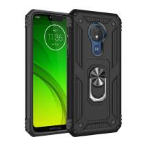 Rebex Motorola G7 Power Case Cover,Moto G7 Supra Case,Tough Heavy Protective 360 Metal Rotating Ring Kickstand Holder Grip Built-in Magnetic Metal Plate Armor Heavy Duty Shockproof (B-Black)