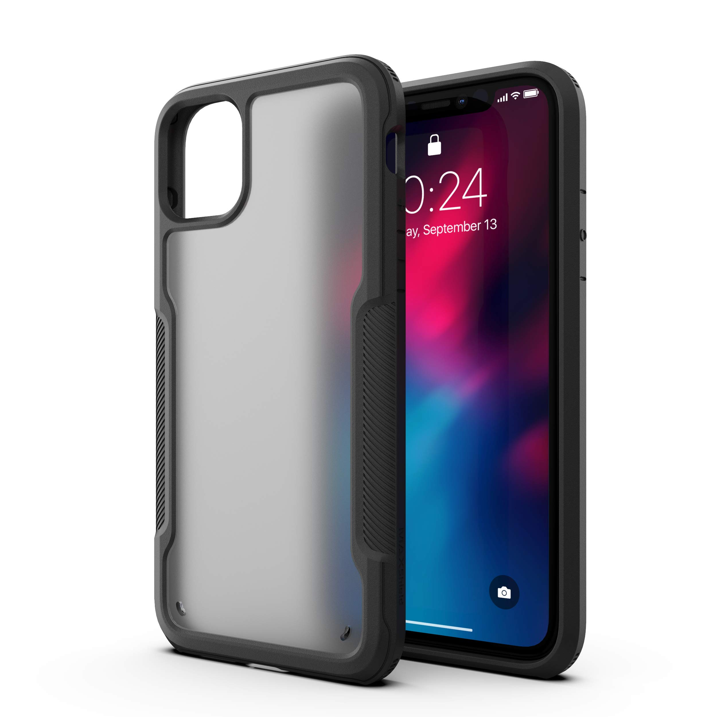 MAXSHIELD Compatible with iPhone 11 Pro Max Case, Premium Hybrid Shockproof Protective Slim Clear Case [Razor X Series]-Black Matte