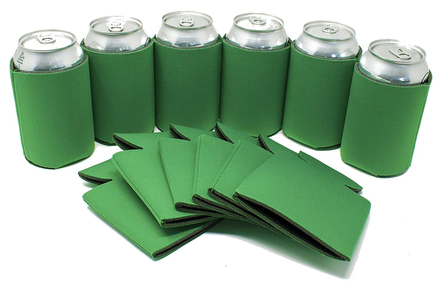 TahoeBay 12 Blank Beer Can Coolers, Plain Bulk Collapsible Soda Cover Coolies, DIY Personalized Sublimation Sleeves for Weddings, Bachelorette Parties, Funny HTV Party Favors (Kelly Green, 12)