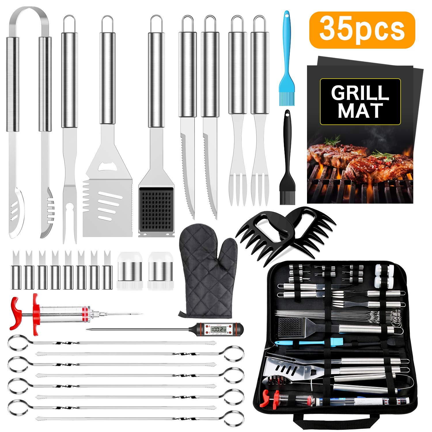 BBQ Grill Accessories BBQToolsSet, AISITIN 35 PCS BBQ Grilling Accessories, Stainless Steel Grill Tools Set for Smoker, Camping, Kitchen, Fathers Day Birthday Gift Barbecue Grill Accessories for Men