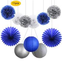 HEARTFEEL 11pcs Navy Blue Silver White Tissue Pom Poms Paper Lanterns Paper Fans Kit for Baby Shower, Bachorlette, Wedding, Birthday, Grad Party Decorations (Navy Blue,Silver,White)