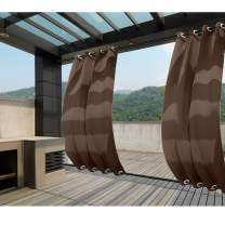 Macochico Extra Long Windproof Curtain Panels Outdoor Window Treatments Water Repellent Privacy Protection Heat Insulated for Patio Garden Gazebo Porch Cabana Chocolate 84W x 108L (1 Panel)