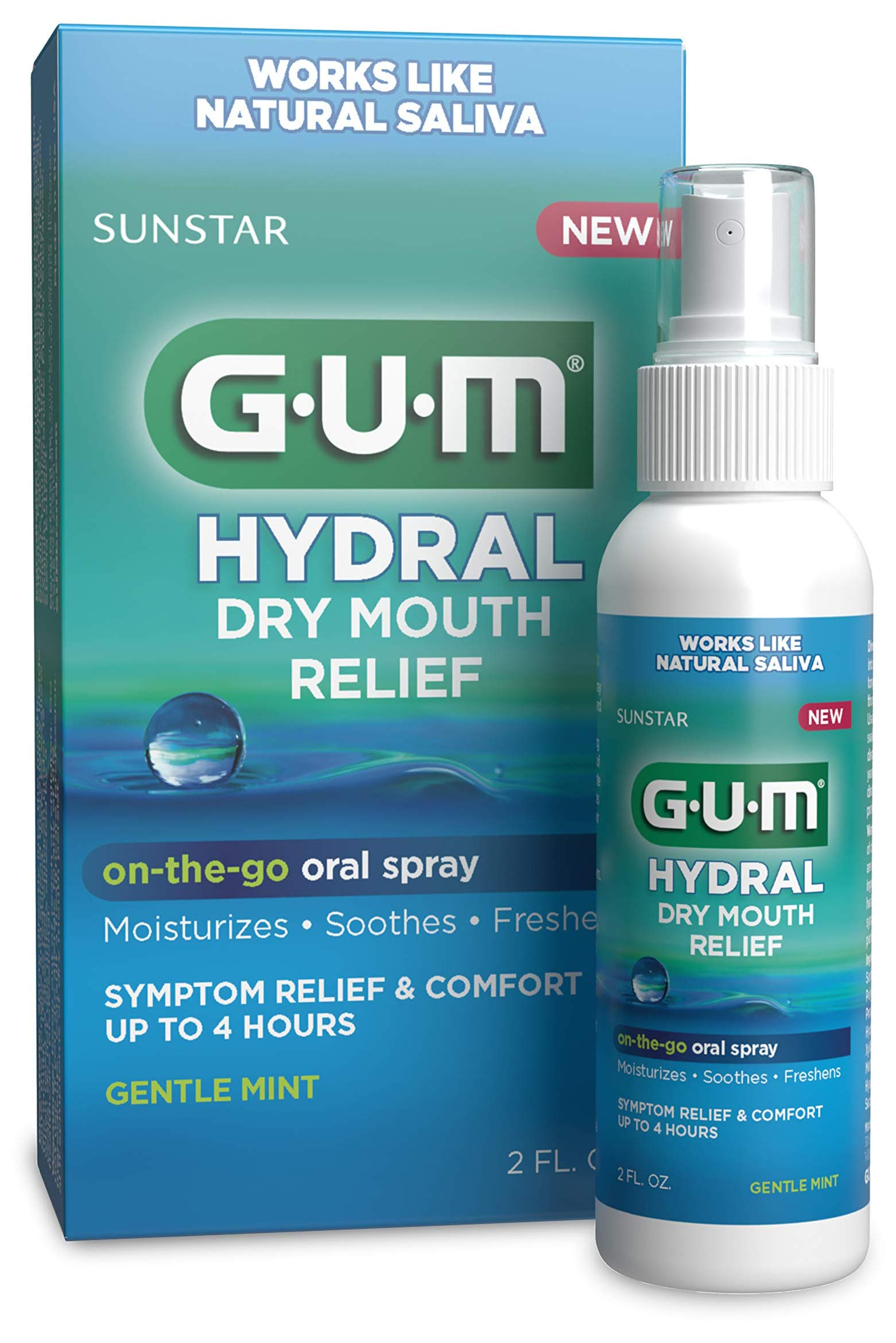 GUM Hydral Oral Spray, Alcohol-Free Gentle Mint Spray for On-The-Go Dry Mouth Relief, 2 oz, (Pack of 3)