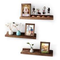 Emfogo Wood Picture Ledge Shelf Rustic Floating Shelves Set for 3 Kitchen Farmhouse Bathroom Decor Nursery Kids Bookshelf 16.9 inch(Carbonized Black)