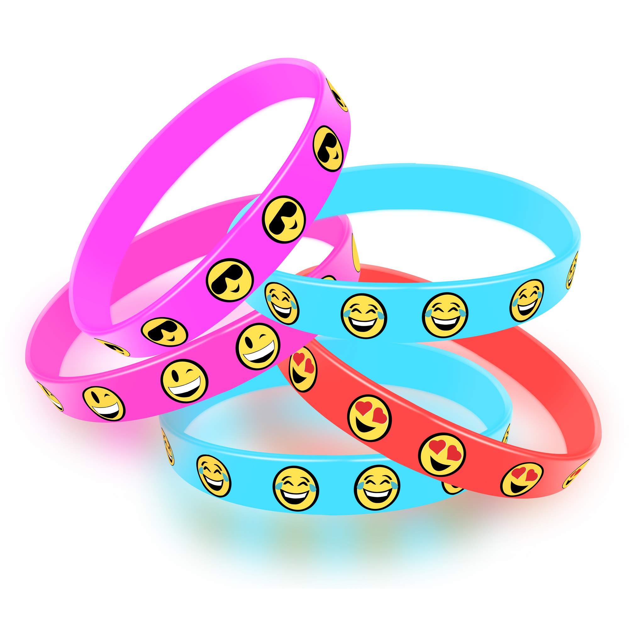 Fun Central 36 Pack - Emoji Silicone Bracelets Bulk - Emoji Party Supplies for Kids - Assorted