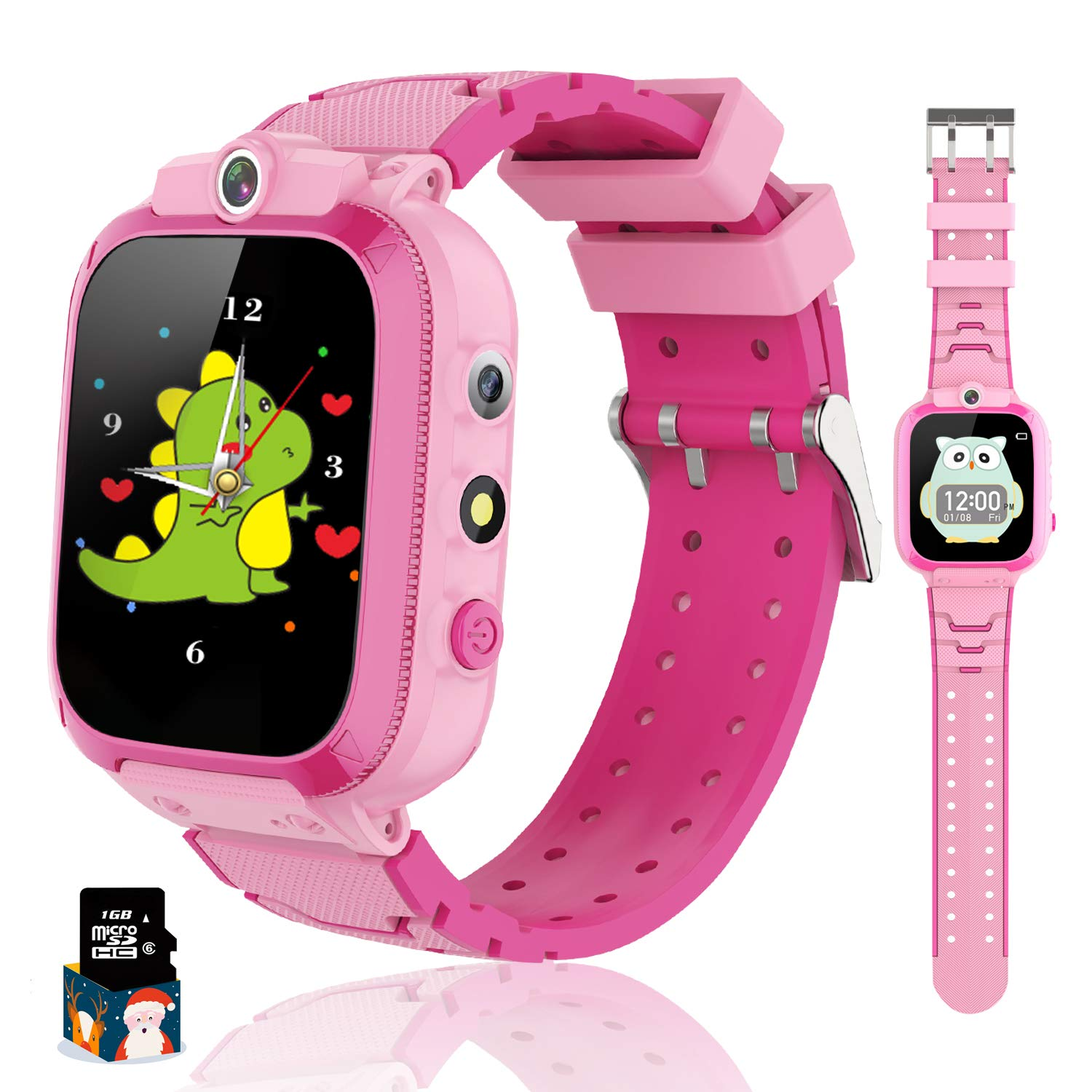 Themoemoe Kids Smart Watch for Boys Girls, Kids Music Watch Touch Screen with Dual Cameras 14 Games Pedometer Sport Alarm Clock Flashlight, Kids Watch for Childern Birthday Gifts 3-12(Pink)