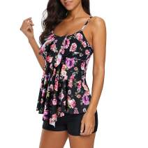 Century Star Swimsuits for Women Flounce Printed Bathing Suits Two Piece Tankini with Boyshorts Slimming Swimwear