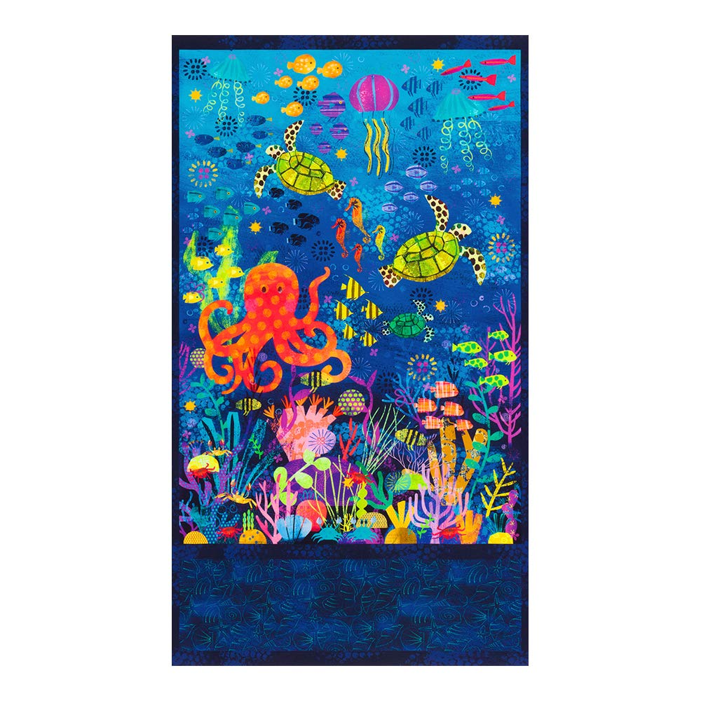 Robert Kaufman Octopus Garden 24'' Panel Ocean