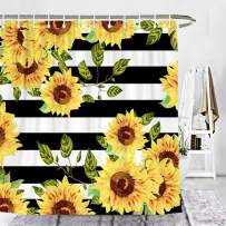 Wencal Sunflower Shower Curtain Black and White Striped Bathroom Decor with Hooks - 72 x 72 Inches