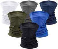 6 Pcs Bandana Dust Protection Face Mask, Elastic Seamless Sunscreen Neck Gaiter for Outdoor Sports