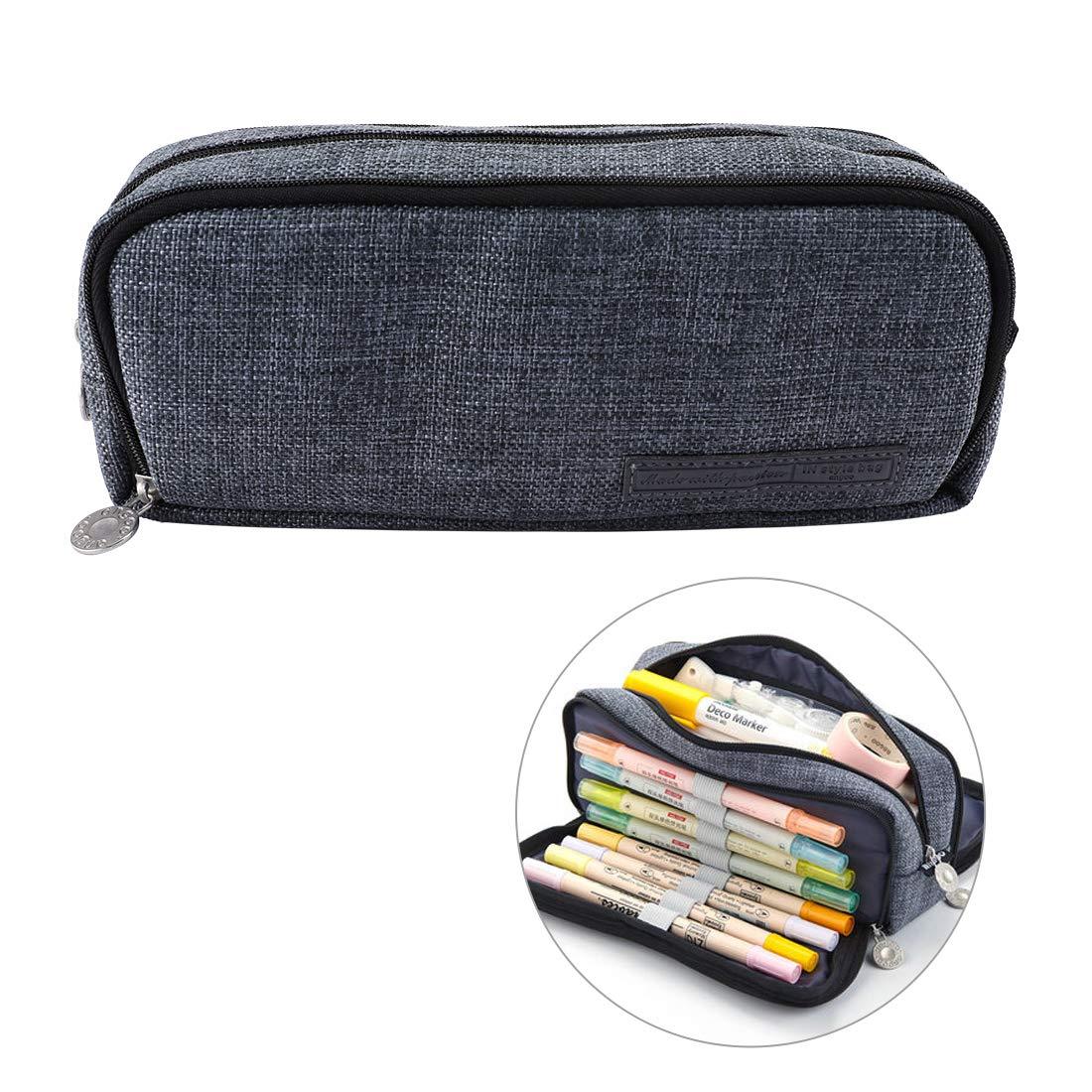 Oyachic Triple Zipper Pen Case Multi Compartments Pencil Case 3 Zippers Pen Bag Pouch Holder Square Grid Cosmetic Bags Organizer Stationery Box (Dark Gray)