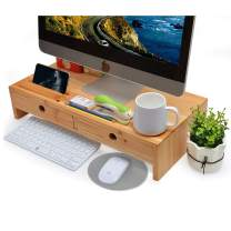 Computer Monitor Stand with Drawers - Wood TV Screen Printer Riser 22.05L 10.60W 4.70H inch, Desk Organizer in Home&Office