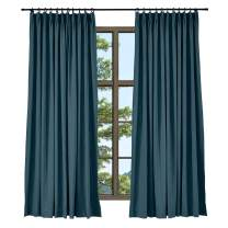 TWOPAGES Navy Blue Light Reducing Pinch Pleat Curtain for Bedroom, Elegant Natural Linen Cotton Curtain Window Curtain (1 Panel, 52 x 84 Inches)
