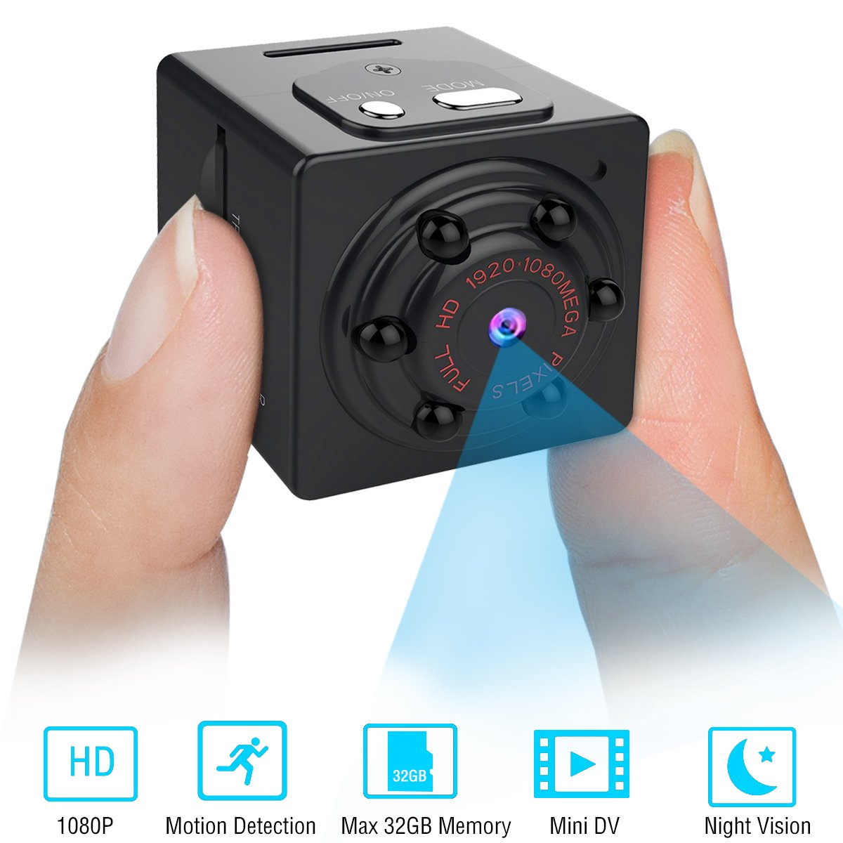 Mini Spy Camera, Hidden Security Camera, Full HD 1080P Portable Nanny Cam with Night Vision & Motion Detection, Perfect for Home Office and Car Surveillance