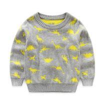 Fashion Boys Falls Stylish Dinasour Cartoon Printed Woolen Sweater