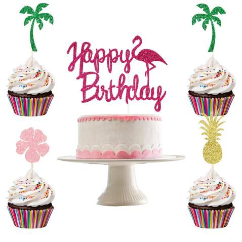 Glittery Flamingo Happy Birthday Cake Topper And 24pcs Pineapple Coconut Tree Hibiscus Flowers Cupcake Toppers Hawaii Birthday Party Decorations Flamingo Birthday Party Decorations Hawaii Theme Birthday Cake Toppers