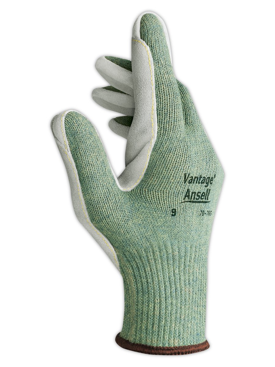"""Ansell 707659 Vantage 70-765 Medium Weight Dupont Kevlar Blended Knit Glove with Leather Palm, 10.5"""" Length, 5"""" Width, 0.67"""" Height, Size 9, Gray (Pack of 12)"""